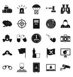 Offense icons set simple style vector