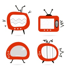 old retro tv collection vector image vector image