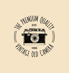 Photography logo vintage old camera label vector