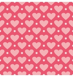 Pink background with hearts and polka dots vector