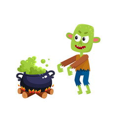Scary green zombie monster and halloween caldron vector