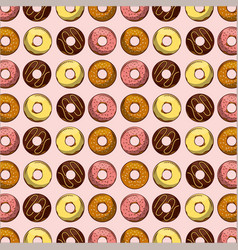 seamless pattern sweet dessert pastry donuts vector image