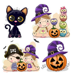 Set of halloween cards with two girls vector