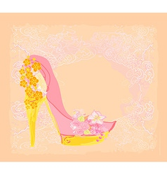 Shoes vintage flowers abstarct poster vector