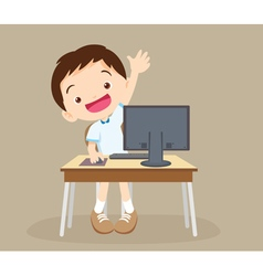 student boy learning computer hand up vector image vector image