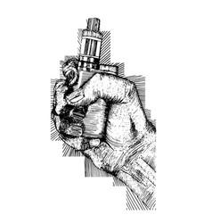 Vape cigarette in hand vector