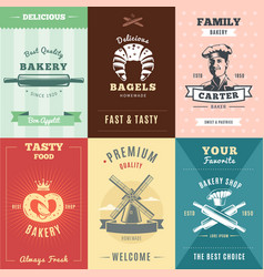 vintage bakery posters vector image vector image