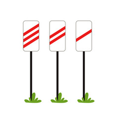 Warning signs approaching the railway crossing vector