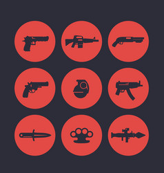 weapons icons set pistol assault rifle revolver vector image vector image
