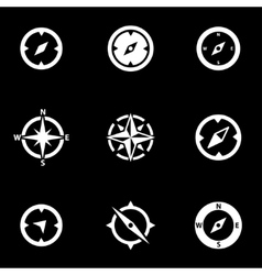 white compass icon set vector image vector image