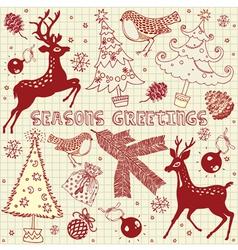 Winter Garden Fox Card vector image