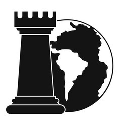 World planet and chess rook icon simple style vector