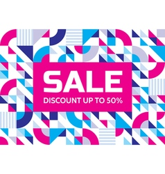 Sale abstract geometric banner discount vector