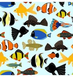 Fishes seamless pattern Cute cartoon aquarium fish vector image