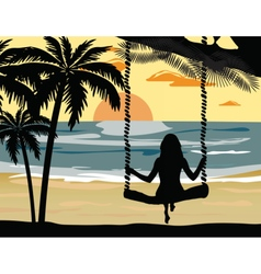 Summer sunset beach vector