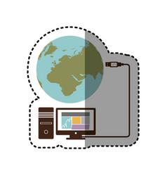 Sticker desktop computer global hosting database vector