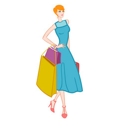 Fasionable girl with shopping bags vector