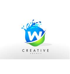 W letter logo blue green splash design vector