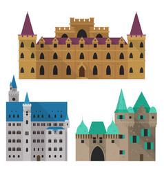 Medieval cartoon castle or citadel fort front vector