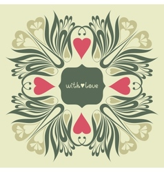 Floral ornate background with love vector