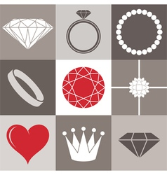 Jewelry collection icon set vector