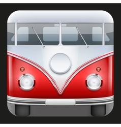 Square icon popular bus classic camper van vector