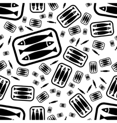 Tin of sardines seamless pattern vector
