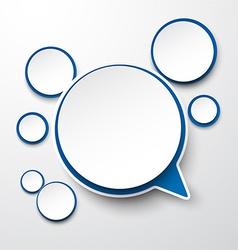 Paper white-blue round speech bubbles vector