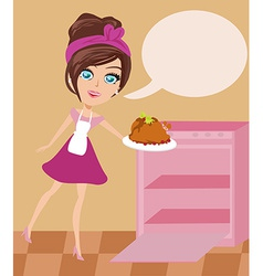 Lovely housewife roast chicken vector