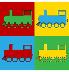 Pop art locomotive icons vector