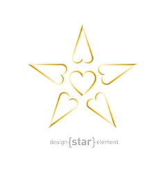 luxury golden star with hearts on white background vector image