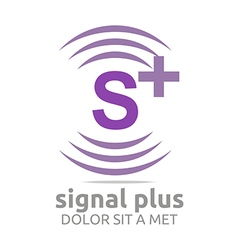 Logo signal letter s plus purple alphabet wireless vector