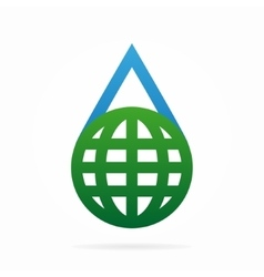 Logo combination of a water and earth vector