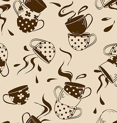 Seamless pattern of teacups vector