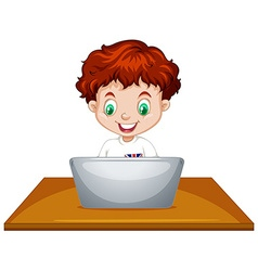Little boy using laptop computer vector