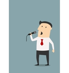 Businessman speaks into a microphone vector image