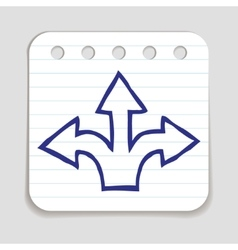 Doodle 3 arrows icon vector