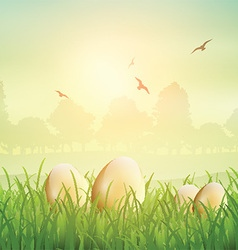 Easter eggs in grass 1802 vector