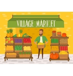 Farmers market local farmer shopkeeper vector