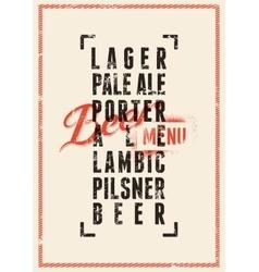 Beer menu design vintage grunge beer poster vector