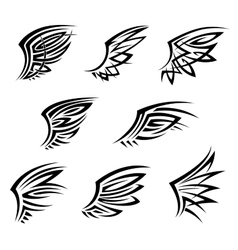 Black tribal tattoo wings with decorative feathers vector