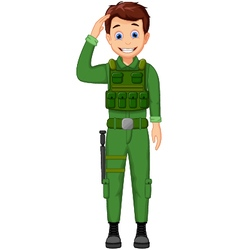Cute army cartoon respectful vector