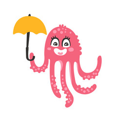 Cute cartoon pink octopus character holding vector