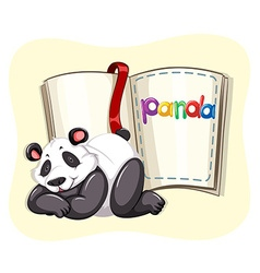 Cute panda and a book vector