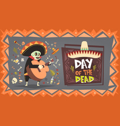 Day of dead traditional mexican halloween dia de vector