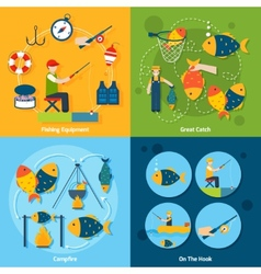 Fishing Flat Set vector image