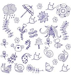 garden of doodle art vector image vector image