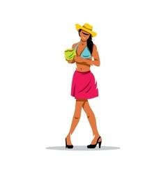 Girl with Coconut Cartoon vector image vector image