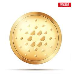 Gold coin with cardano cryptocurrency sign vector
