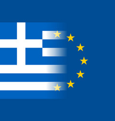 Greece national flag with a star circle of eu vector